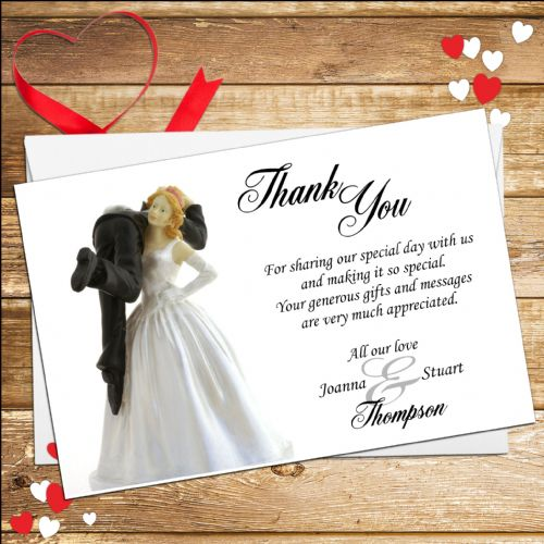 10 Personalised Bride and Groom Humour Wedding Thank you cards N3